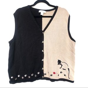 VINTAGE cat button up vest cardigan Q16